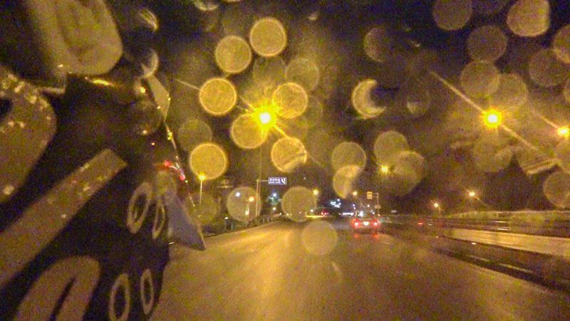 国道163号線で雨